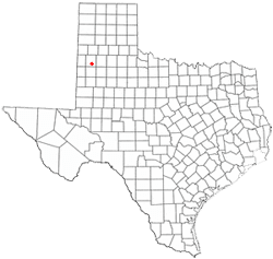 An illustrated map of Texas, showing the location of Littlefield