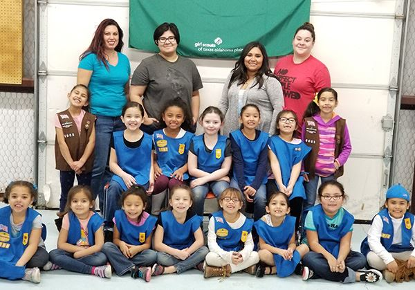 A group photo of girl scouts
