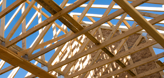 Wooden trusses in a building under construction